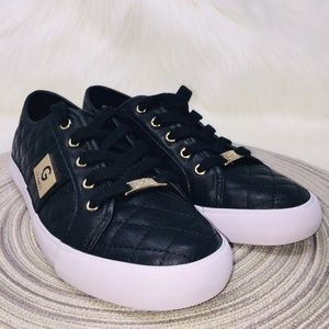 Guess Sneakers Black Gold Quilted NWOT Size 7